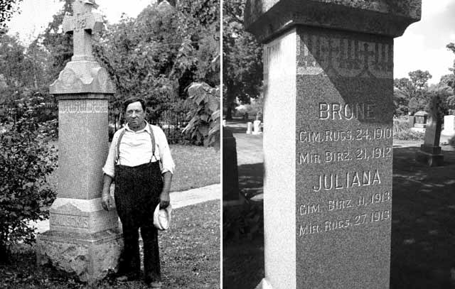 V. Zaleckis at the gravestone of his daughter.